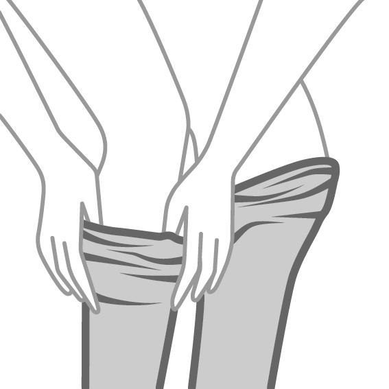 Das richtige Anziehen von Strümpfen - 3. SCHRITT